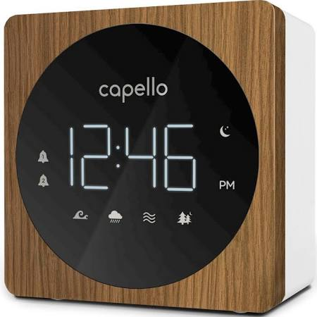 Digital Alarm Clock with Sound Machine Black/Larch - Capello®